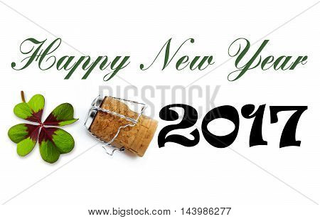 Happy New Year 2017 Lettering on white Background