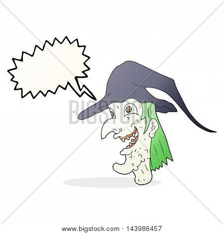 freehand drawn speech bubble cartoon cackling witch