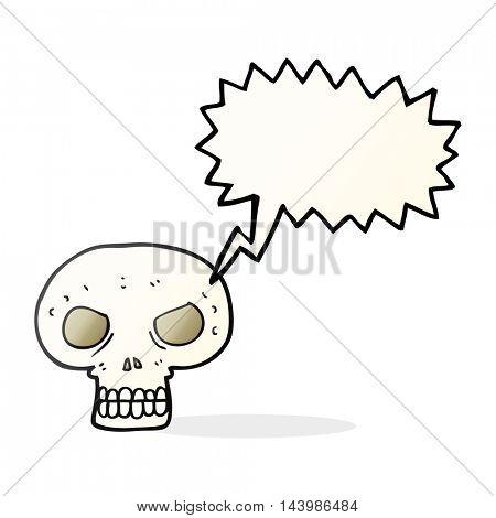 freehand drawn speech bubble cartoon skull