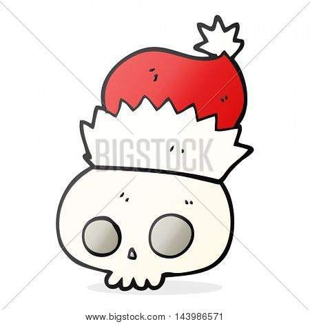 freehand drawn cartoon skull wearing christmas hat