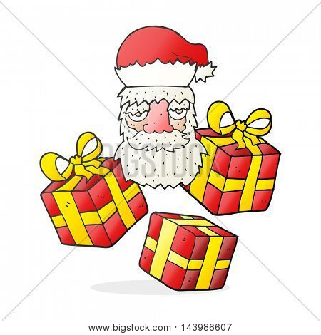 freehand drawn cartoon tired santa claus face with presents
