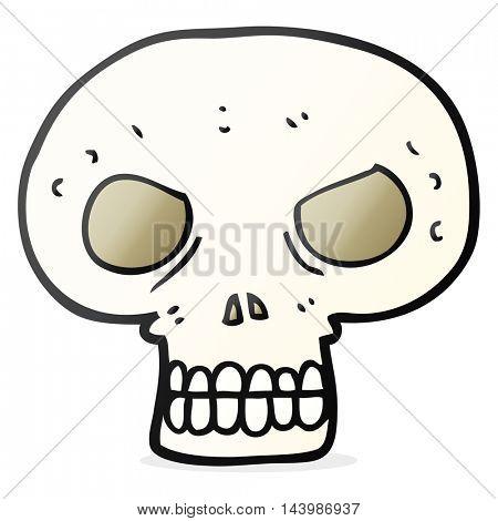 freehand drawn cartoon skull