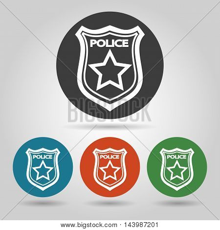 Police badge symbol set. Flat icons on colorful backgrounds.