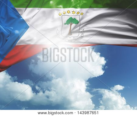 Equatorial Guinea flag on a beautiful day