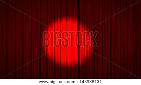 Red stage curtain with a spotlight in the center. 3D render.