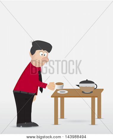 cartoon businessman take coffe cup on the table