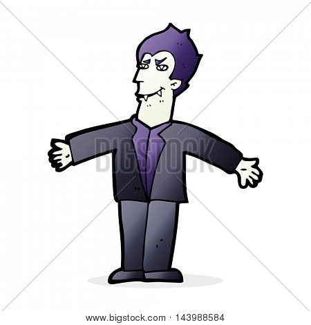 cartoon vampire man with open arms