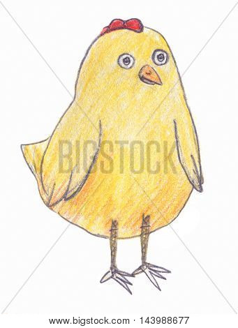 Cartoon yellow chicken isolated on white background, colored pencils drawing