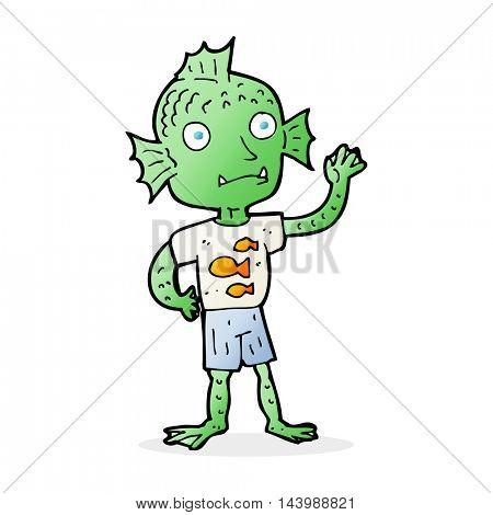 cartoon waving fish boy