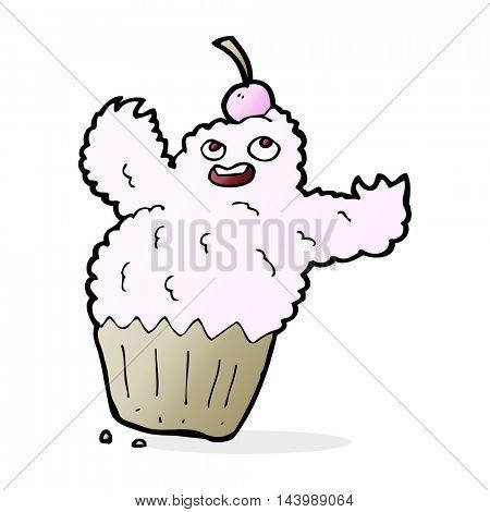 cartoon cupcake monster