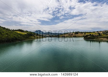 beautiful lake landscape cloudy sky sunny day