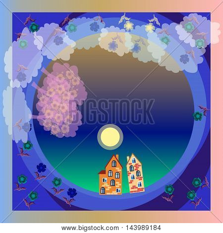 Night fog. Moonlight. Blooming garden. Spring. Small town. Vector bandana print or silk neck scarf. Kerchief square pattern design style for print on fabric. Beautiful tablecloth.