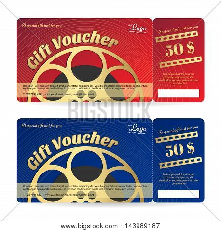Elegant gift voucher or gift card in red and blue tone with movie film ticket theme