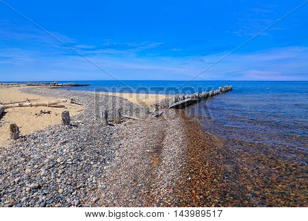 The Beach At Whitefish Point On The Greatest Of The Great Lakes Lake Superior During Summer Upper Peninsula Michigan USA