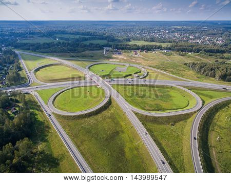 road junction in the countryside aerial view  in the form of butterfly