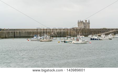 harbor scenery including the Turpault castle near a commune named Quiberon in the Morbihan department in Brittany France