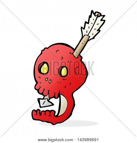 funny cartoon skull and arrow