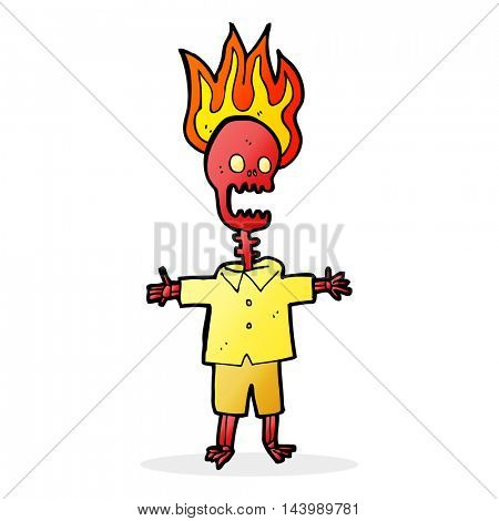 cartoon flaming skeleton