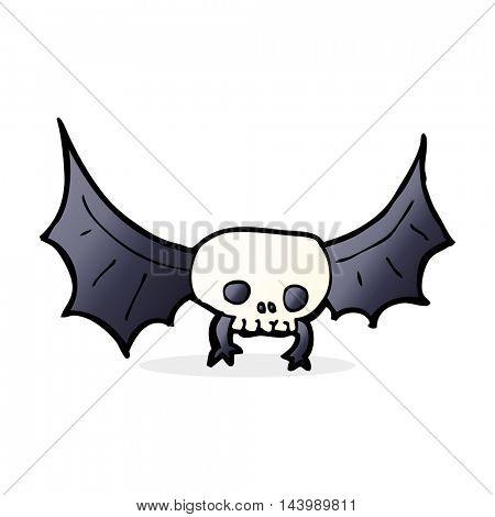 cartoon spooky skull bat