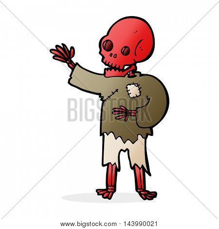 cartoon skeleton waving