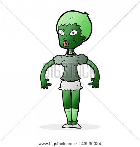 cartoon zombie monster woman