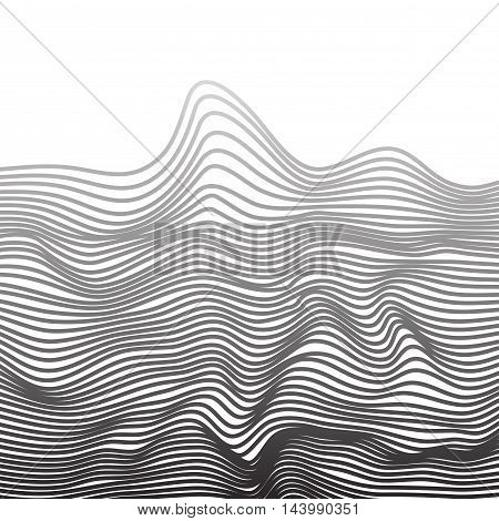 Abstract vector texture of curving narrow lines monochrome stripes visual halftone effect illusion of movement op art pattern dynamical ripply surface artistic distressed background