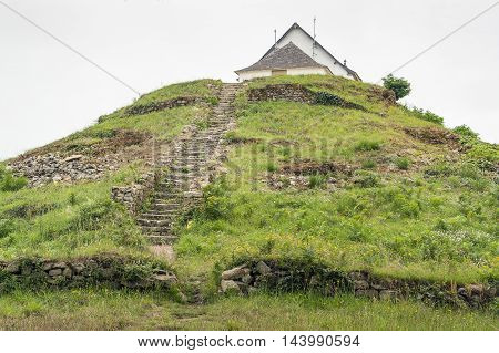 megalithic grave mound named Saint-Michel tumulus near Carnac a commune in the Morbihan department of Brittany France