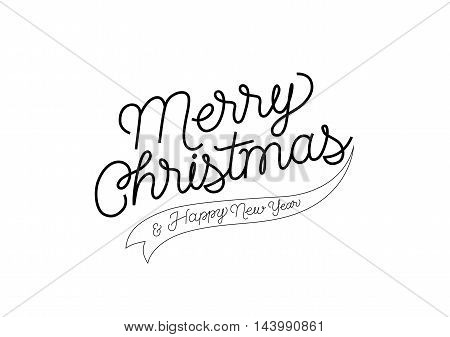 Merry Christmas and Happy New Year calligraphic lettering. Merry Christmas and Happy New Year inscription with ribbon element. Handwritten text can be used for greeting cards, posters, banners