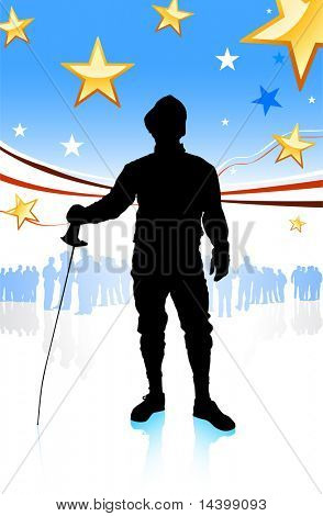Fencing Sport on American Patriotic Background Original Illustration