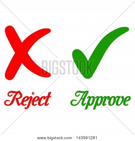 reject and approve sign calligraphic text green and red colors vector illustration for print or website design