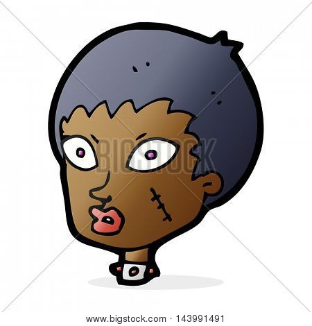 cartoon female zombie head