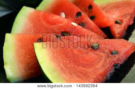 slices of ripe fruits fresh sweet red watermelon