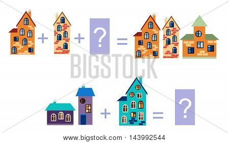 Cartoon illustration of mathematical addition. Examples with buildings. Educational game for children.