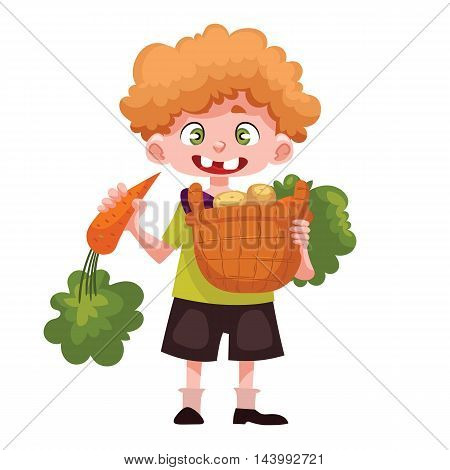 Caucasian boystanding and holding baskets of freshly harvested fruits and vegetables, cartoon style vector illustration isolated on white background. Happy childgardening concept