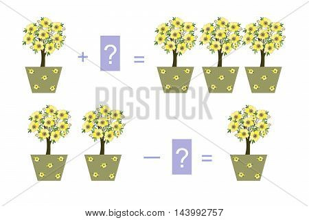 Educational game for children. Cartoon illustration of mathematical addition. Examples with houseplants.