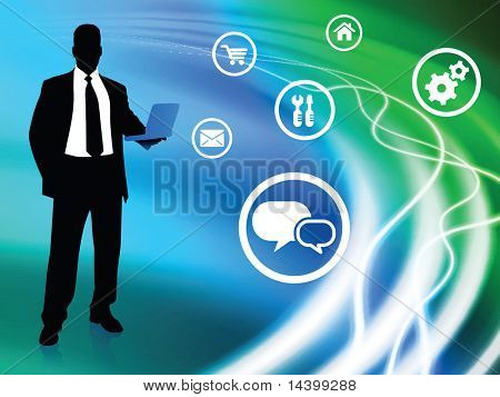 Businessman on Abstract Background with Icons Original Illustration