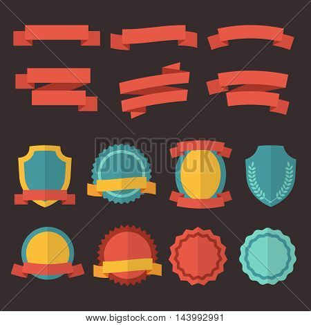 Set of retro badges, labels and ribbons in flat style. Colorful sticker, emblem and insignia. Vector illustration