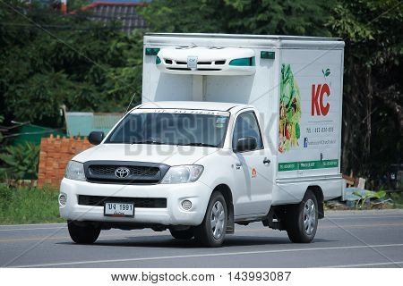 CHIANGMAI THAILAND -AUGUST 9 2016: Refrigerated container Pickup truck of KC Transport Company. On road no.1001 8 km from Chiangmai Business Area.