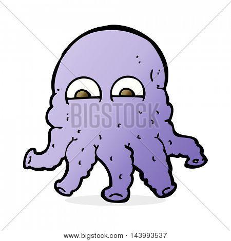 cartoon alien squid face