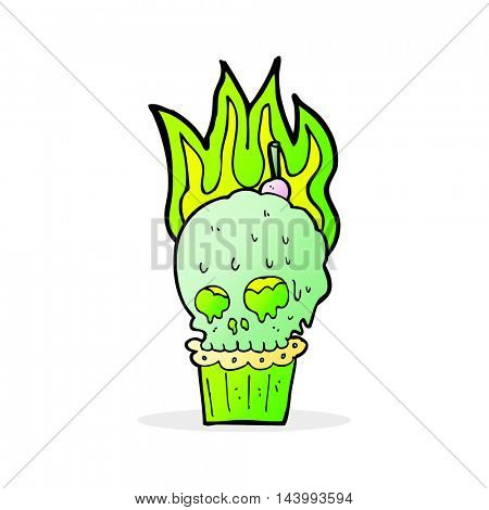 cartoon spooky skull cupcake