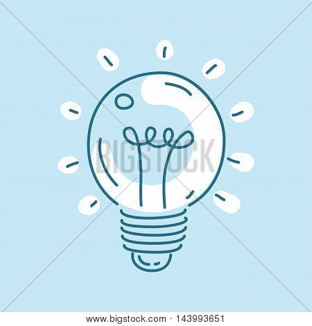 Vector bulb icon. Concept of creativity and innovation. Line art style.