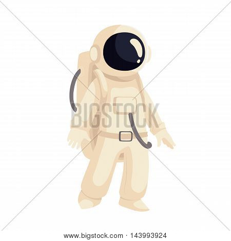 Cartoon astronaut in open cosmos illustration. Cosmonaut floating in space. Illustration of cosmos traveler, galaxy explorer, astronaut suit science and technology