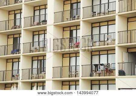 exterior view of hotel balcony for design