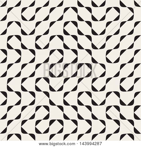 Vector Seamless Black and White Irregular Arcs Pattern. Abstract Geometric Background Design