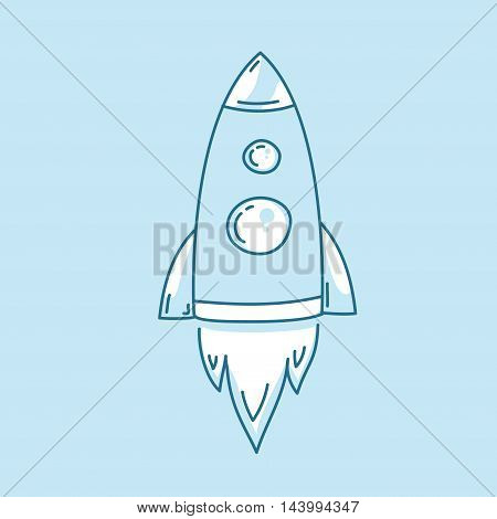 Vector illustration of rocket launch icon. Spaceship startup sign.