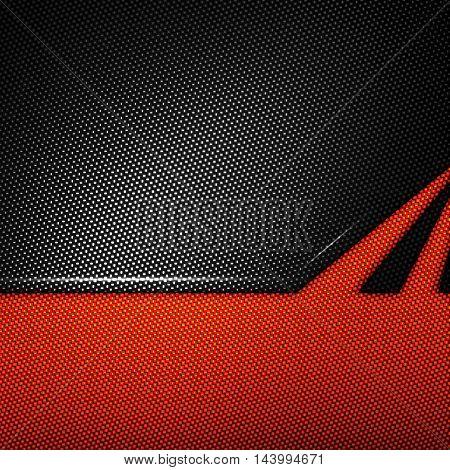 orange and black carbon fiber background. 3d illustration material design. racing style.