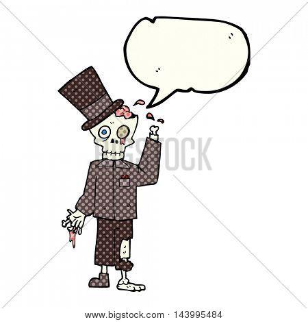 freehand drawn comic book speech bubble cartoon posh zombie