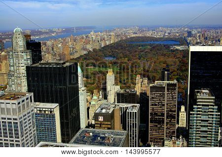New York City - November 11 2005: Vista of Central Park midtown Manhattan,the Upper West Side, Hudson River,  and distant George Washington Bridge