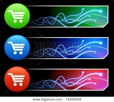 Shopping Cart Icon on Multi Colored Button Set Original Illustration