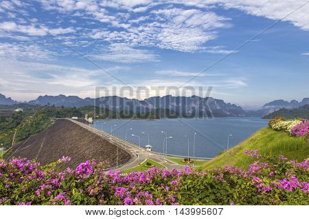 Ratchaprapha dam with beautiful mountain view Surat Thani southern Thailand.
